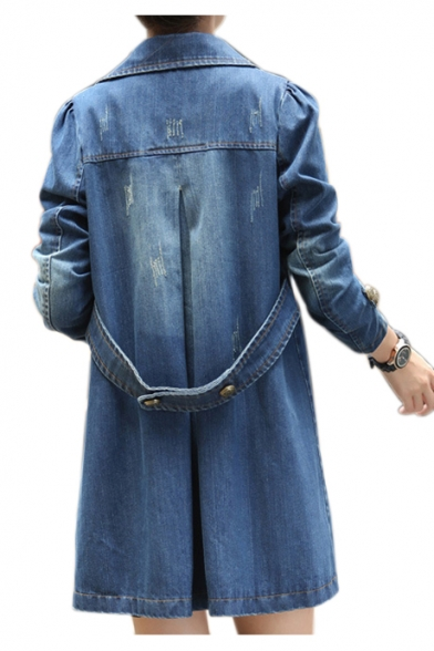 Notched Lapel Collar Long Sleeve Faded Tunic Denim Coat