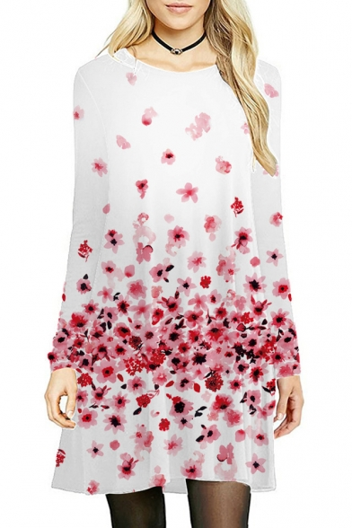 Round Neck Long Sleeve Floral Printed Midi A-Line Dress