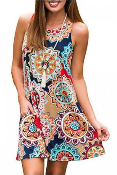 Round Neck Tribal Printed Sleeveless Mini A-Line Dress