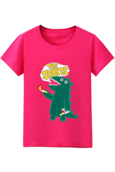 Printed SHIRTS Tee Letter Dinosaur Short Sleeve THE Round Neck UtxTpAqw
