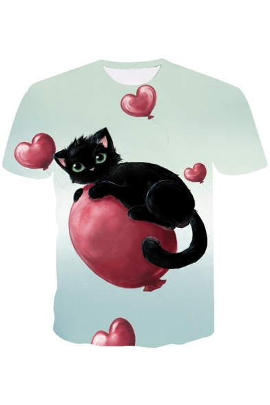 3D Balloon Cat Printed Round Neck Short Sleeve Tee