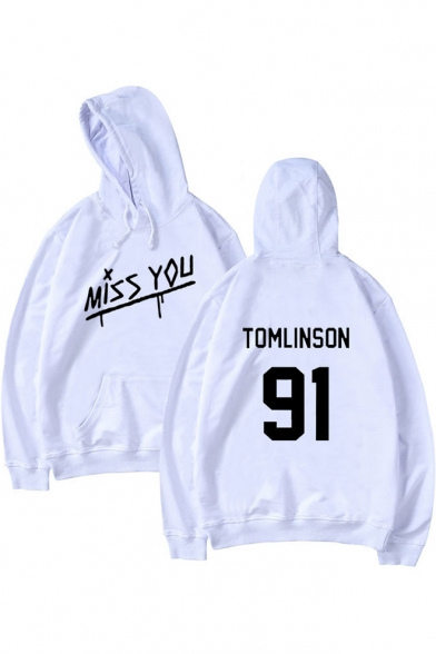 91 MISS YOU Letter Printed Long Sleeve Leisure Hoodie