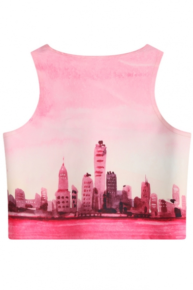 Crop Tank Round Printed Sleeveless Neck Football Alpaca wxTaFXzqOn