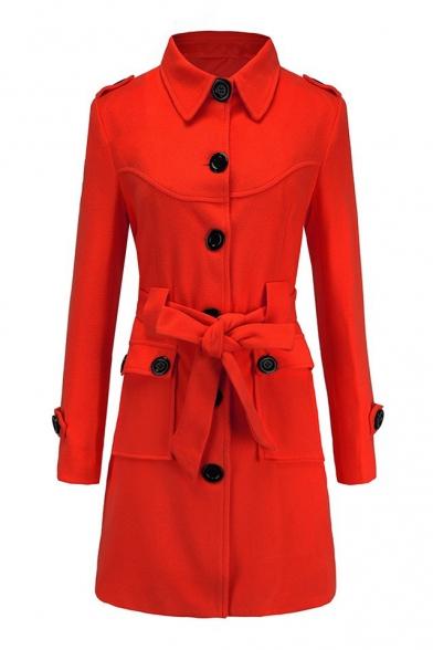 Button Down Lapel Collar Long Sleeve Plain Slim Tunic Coat