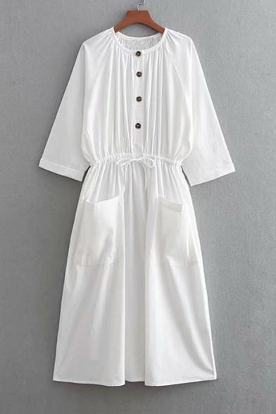 Button Front Round Neck 3/4 Length Sleeve Plain Drawstring Waist Midi A-Line Dress