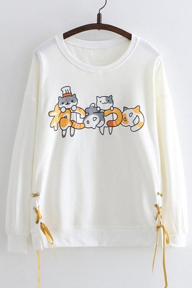 Cat Printed Round Neck Long Sleeve Lace Up Side Sweatshirt