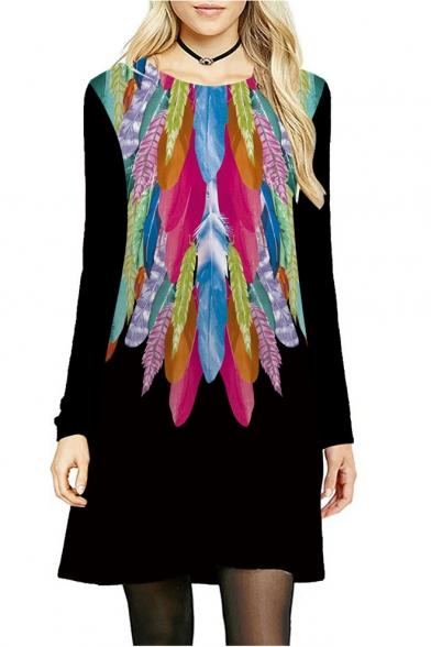 A Dress Line Printed Neck Long Midi Chic Round Sleeve Feather 4wqxC0z8