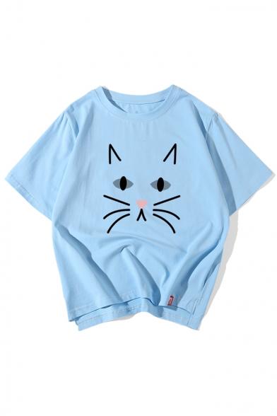Cat Round Dip Half Neck Printed Sleeve Tee Hem 5qHxH4