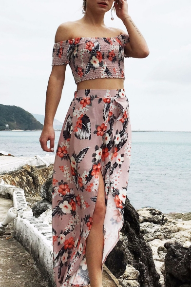 cfb07baa11 Elastic Floral Printed Off The Shoulder Crop Top with Split Front High  Waist Maxi Asymmetric Skirt ...