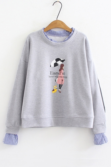Patchwork Round Letter Pieces Neck Character Fake Sweatshirt Sleeve Long Striped Trim Two Printed qvRFHBw