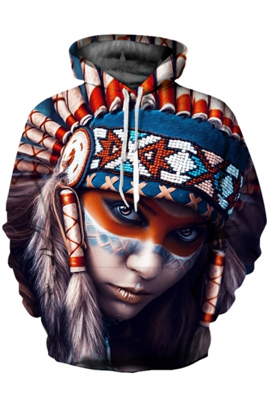 Girl Hoodie Digital Sleeve Unisex Fashionable Printed Tribal Long qEZwB0n