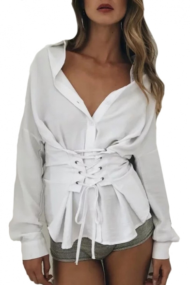 9ff4c5522cf947 Lace Up Front Embellished Lapel Collar Long Sleeve Plain Button Down Shirt