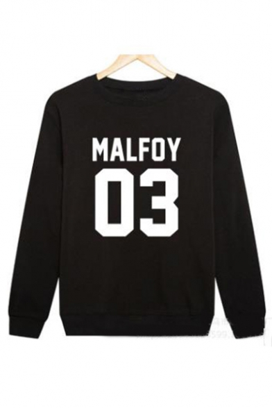 Letter Sleeve Printed Neck 03 Long Round Sweatshirt MALFOY Yz5qy
