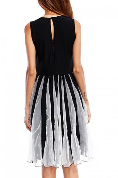 Round Neck Sleeveless Mesh Patchwork Midi A-Line Dress