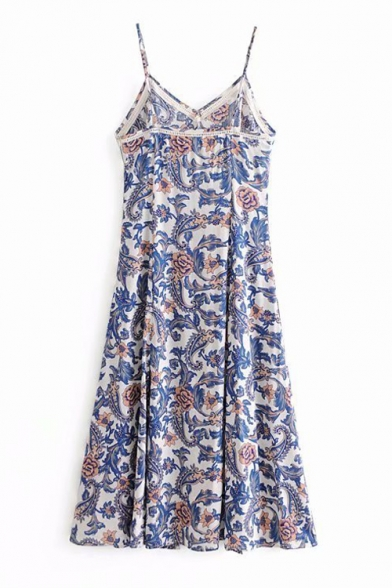 Spaghetti Straps Floral Printed Sleeveless Split Front Maxi Cami Dress