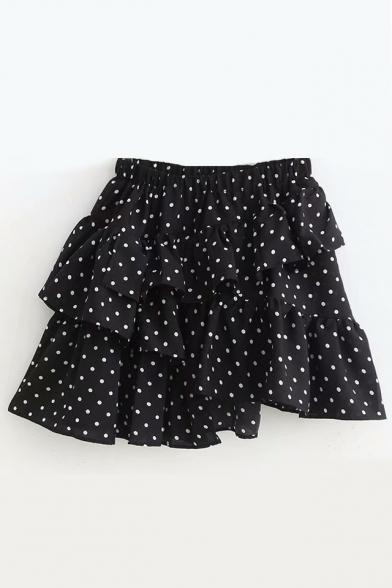 0899cf30140 Stylish Polka Dot Printed Ruffle Mini Layered Skirt - Beautifulhalo.com