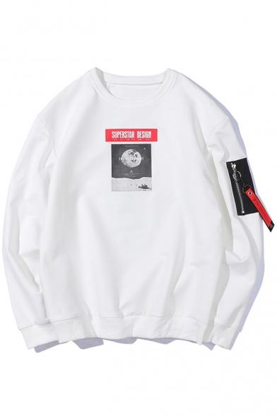 Neck Earth Letter Sweatshirt Long Printed Sleeve SUPERSTAR Round IpTqw544