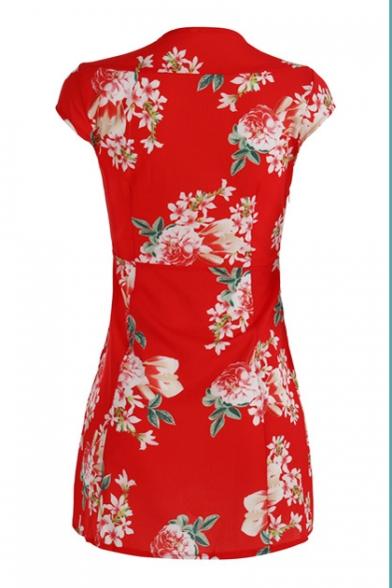 Vintage Floral Printed V Neck Short Sleeve Mini A-Line Dress