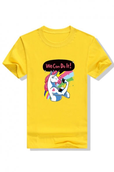 Sleeve Printed Neck IT WE Round Letter DO Tee Short Unicorn CAN qwUXz
