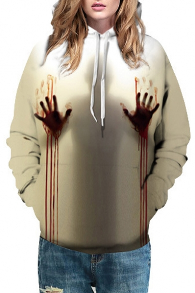 3D Blood Hand Character Printed Long Sleeve Leisure Hoodie