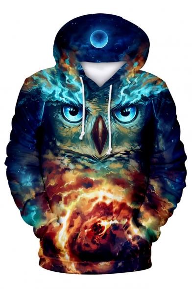 3D Owl Sky Printed Long Sleeve Leisure Hoodie