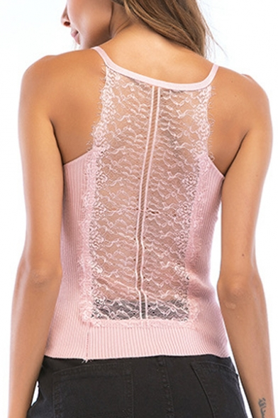 Spaghetti Lace Sheer Crop Cami Patchwork Sleeveless Straps wE0Fq