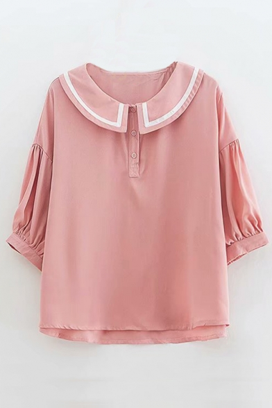 Peter Sleeve Half Pan Button Collar Chic Blouse BwdqqC