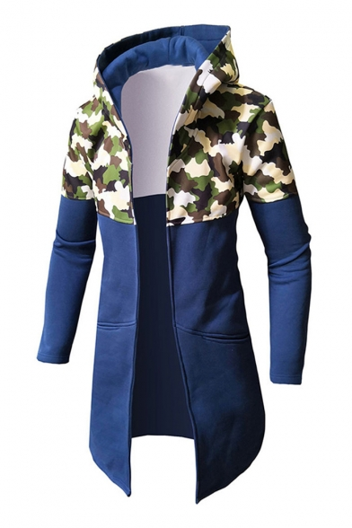 Contrast Camouflage Printed Long Sleeve Open Front Tunic Hooded Coat