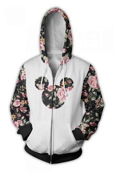 Contrast Floral Printed Long Sleeve Zip Up Hoodie