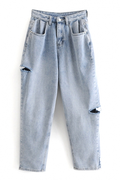 Cut Out Detail Zipper Fly Plain Loose High Waist Jeans
