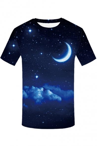 Star Tee Round Short Moon Sleeve Neck Printed Digital PdUqU