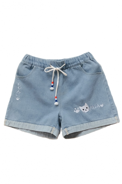 Drawstring Waist Cat Letter Embroidered Leisure Denim Shorts