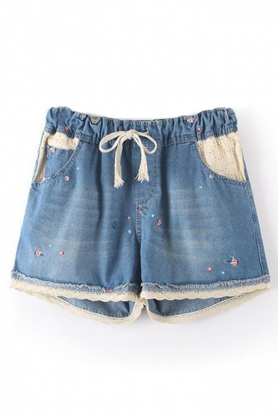 Drawstring Waist Lace Insert Fish Embroidered Loose Denim Shorts