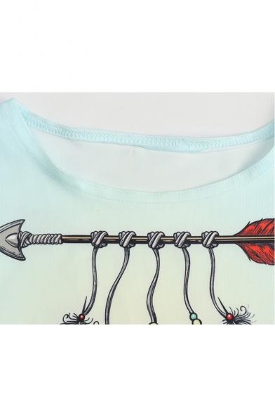Feather Neck Crop Sleeveless Round Tank Arrow Printed SrzwSqp