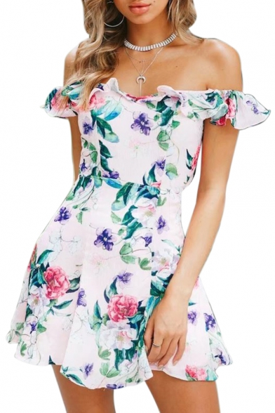 Floral Printed Off The Shoulder Short Sleeve Ruffle Detail Mini A-Line Dress LC476392 фото