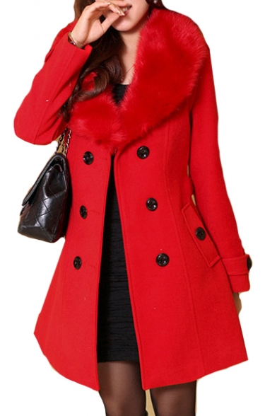 Tunic Fur Breasted Woolen Plain Coat Long Double Collar Sleeve qHY61H