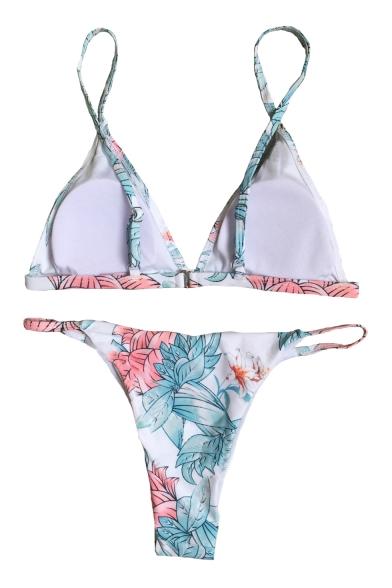 Holiday Hollow Out Detail Floral Printed Spaghetti Straps Sleeveless Bikini