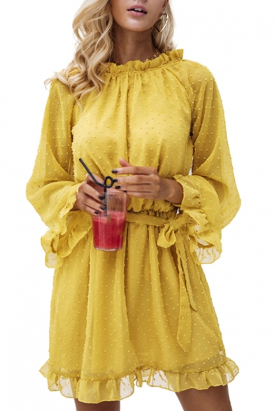 Hollow Out Back Stand Up Collar Long Sleeve Ruffle Detail Mini A-Line Dress