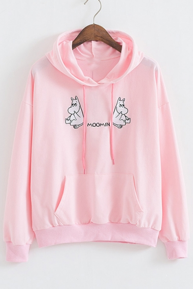 Letter Hippo Embroidered Long Sleeve Loose Hoodie