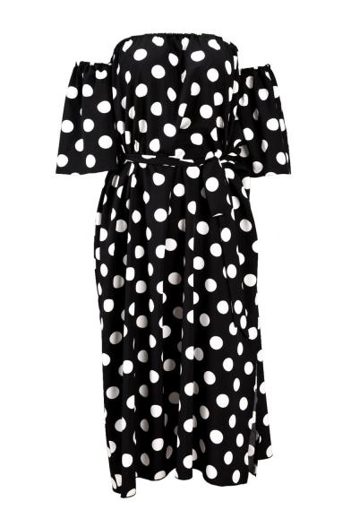 Polka Dot Printed Off The Shoulder Half Sleeve Split Side Maxi A-Line Dress