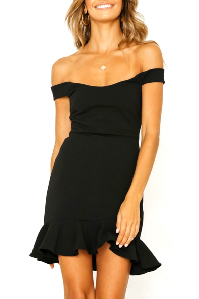 Sexy Off The Shoulder Short Sleeve Plain Ruffle Hem Mini Pencil Dress