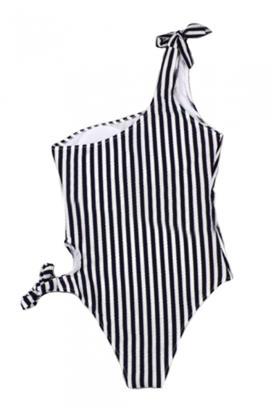 Unique One Shoulder Striped Printed Sleeveless One Piece Swimwear