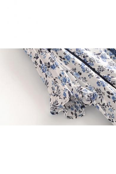 V Neck Floral Printed Short Sleeve Tassel Drawstring Hem Blouse