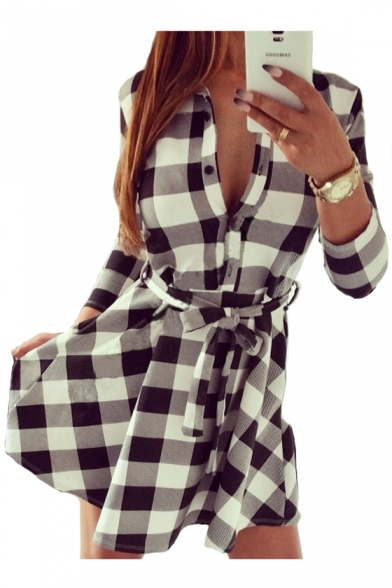 Image of 3/4 Length Sleeve Plaid Printed Lapel Collar Mini A-Line Dress