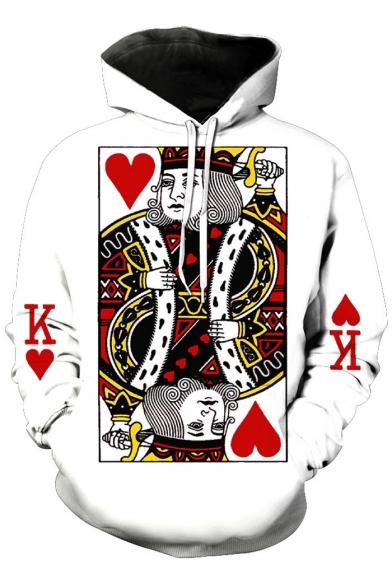 3D Playing Card Printed Long Sleeve Loose Hoodie