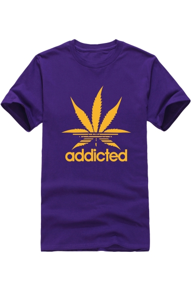 Sleeve Short Leaf Printed ADDICTED Tee Round Neck Letter WqHT4Z7w8