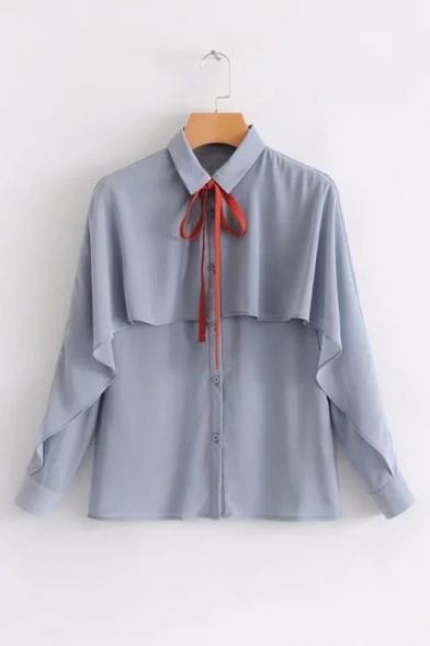 Bow Down Long Sleeve Button Detail Collar Shirt Tie Lapel Ruffle qp6xvwqr