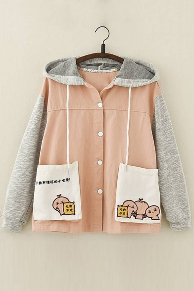 Cartoon Chinese Embroidered Color Block Long Sleeve Button Down Hooded Coat
