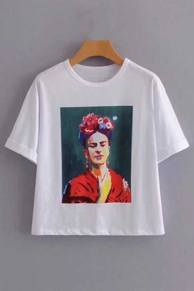 Character Neck Short Tee Painting Oil Sleeve Printed Round rSaCrnW