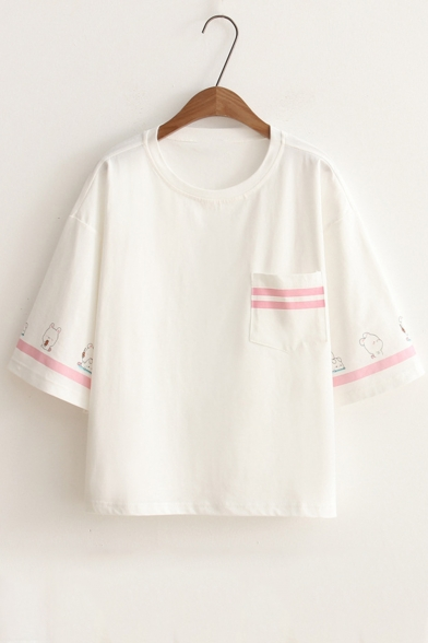 Contrast Rabbit Short Striped Tee Neck Round Sleeve Printed 7r7wq